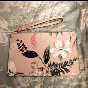 Kate Spade Pink Floral Leather Wristlet